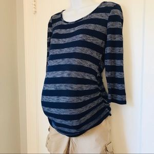 Motherhood Maternity Blue White Striped T-shirt